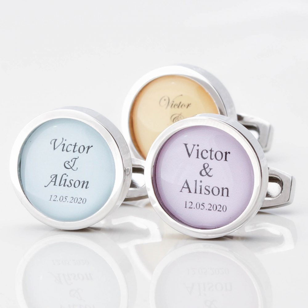 Personalised Colour Match Wedding Cufflinks