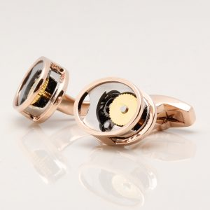 Rose Gold Oval Gear Movement Cufflinks