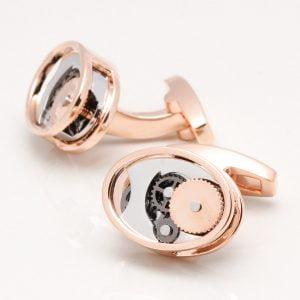 Rose Gold Oval Gear Movement Cufflinks