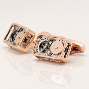 Rose Gold Rectangular Gear Movement Cufflinks