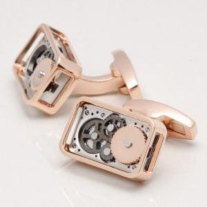 Rose Gold Rectangular Gear Movement Cufflinks