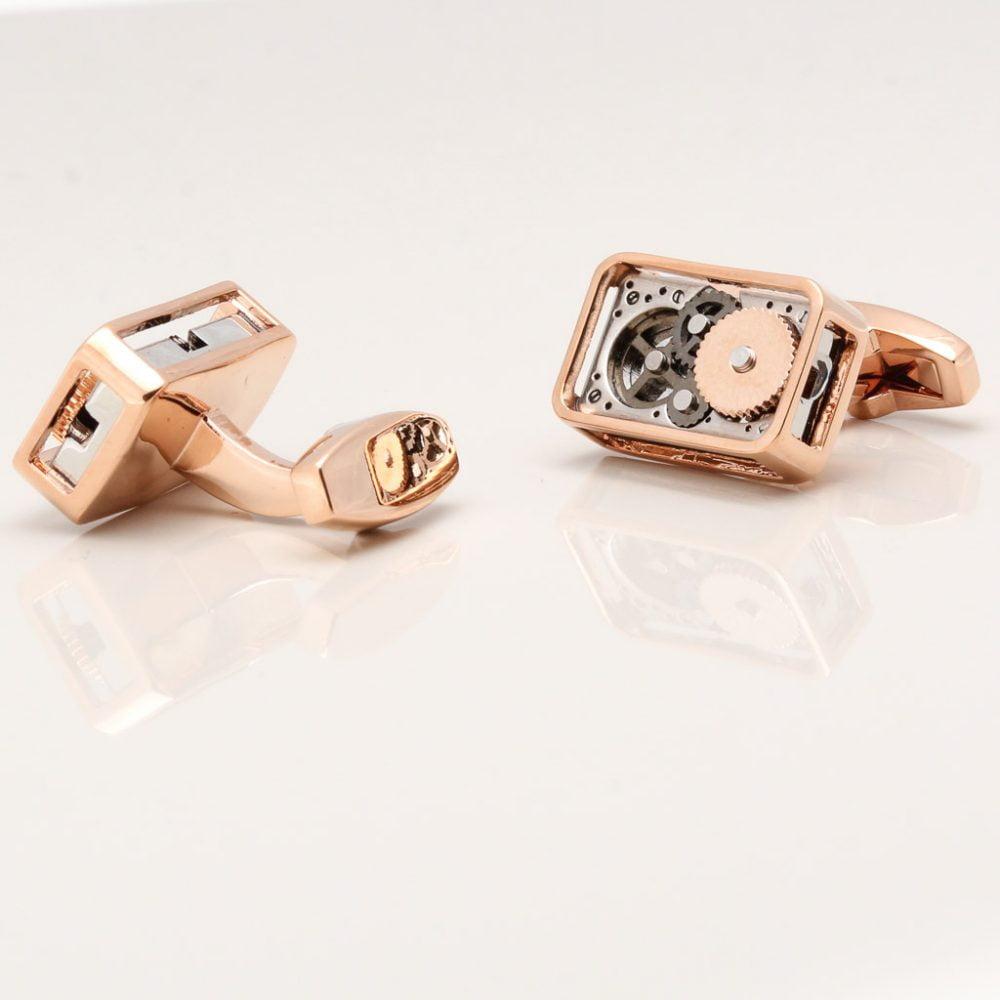 Rose Gold Rectangular Gear Movement Cufflinks Gallery