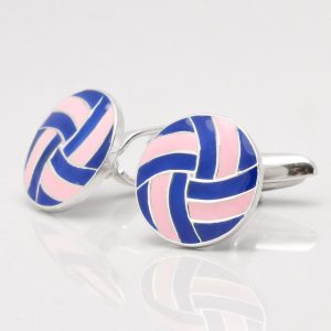 Sterling Silver Pink & Blue Enamelled Cufflinks