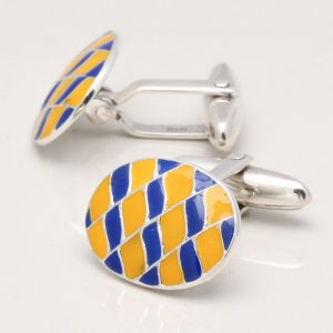 Sterling Silver Yellow & Blue Enamelled Cufflinks