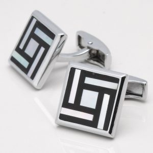 Black Enamel Mother of Pearl Cufflinks