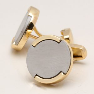 Brushed Rhodium Circle With Gold Plated Base Cufflinks