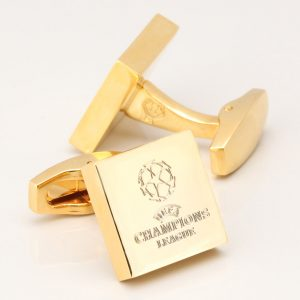 GOLD PLATED SQUARE ENGRAVED LOGO CUFFLINKS