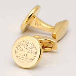 Gold Plated Circle Engraved Logo Cufflinks