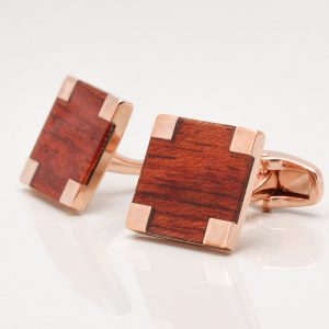 Rose Gold Wood Cufflinks