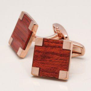 Rose Gold Wood Cufflinks