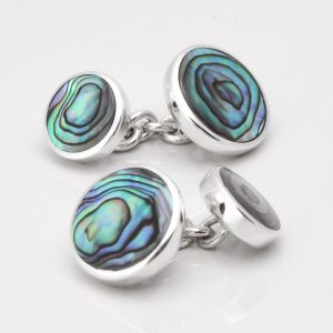 Sterling Silver Round Oyster Shell Cufflinks