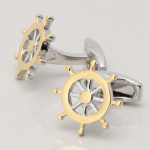 TWO TONE SHIPS WHEEL CUFFLINKS