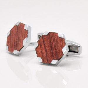Wood Style Hexagon Cufflinks