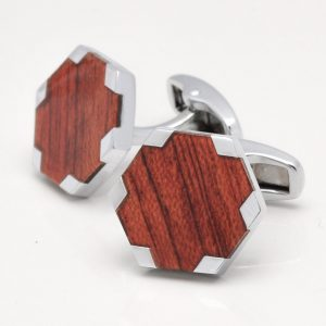 Wood Style Hexagon Cufflinks