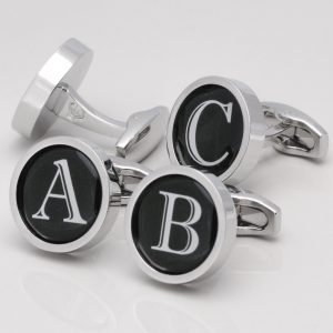 Black Circular Letter Cufflinks