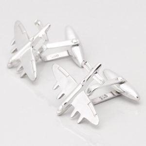 Sterling Silver Bomber Plane Cufflinks