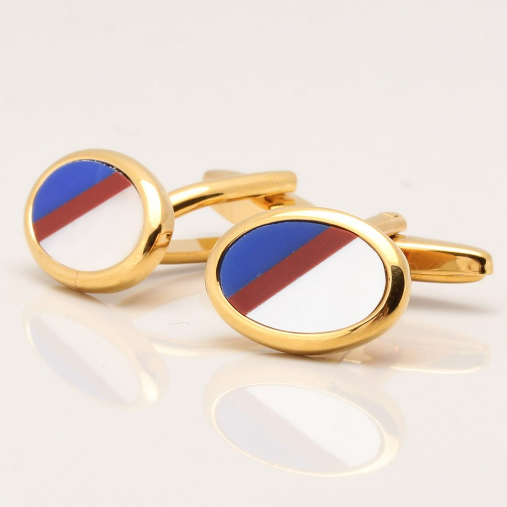 Cornelian, Lapis & Mother of Pearl Stone Gold Plated Oval Cufflinks