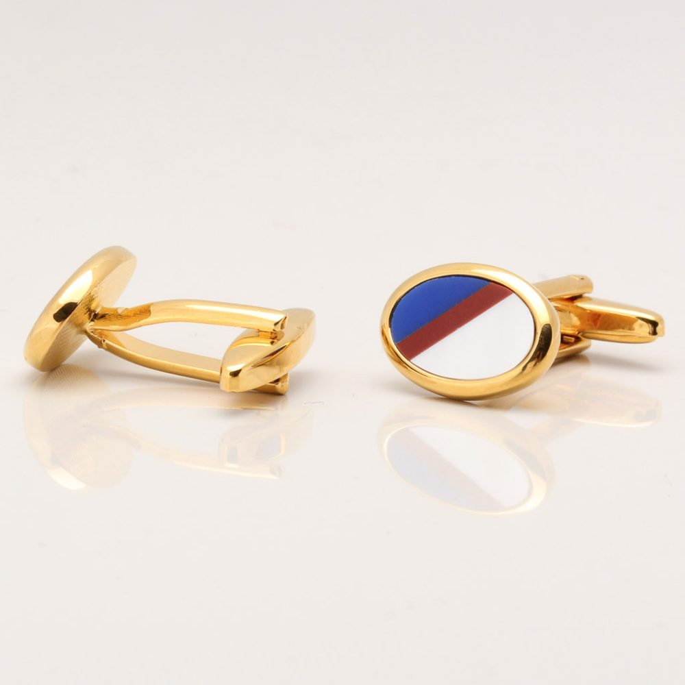 Cornelian, Lapis & Mother of Pearl Stone Gold Plated Oval Cufflinks Gallery