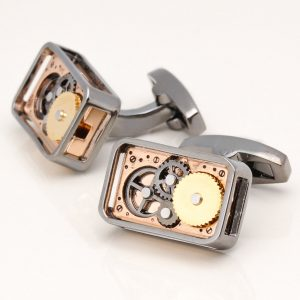 GUNMETAL RECTANGULAR GEAR MOVEMENT CUFFLINKS