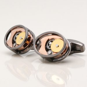 Gunmetal Oval Gear Movement Cufflinks