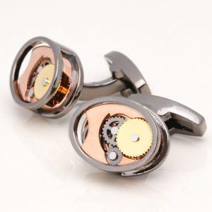 Gunmetal Oval Gear Movement Cufflinks