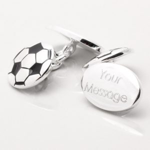 Silver Plated Engraved Football Cufflinks