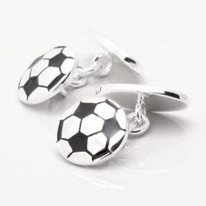 Silver Plated Football Cufflinks