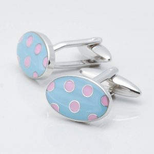 Sky Blue Oval Cufflinks With Pink Polka Dots
