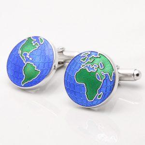 Sterling Silver Globe Cufflinks