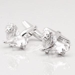 Sterling Silver Lion Cufflinks