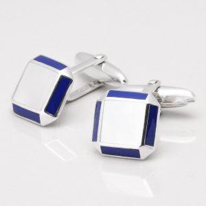Sterling Silver Mother of Pearl Cufflinks with Lapis Edge