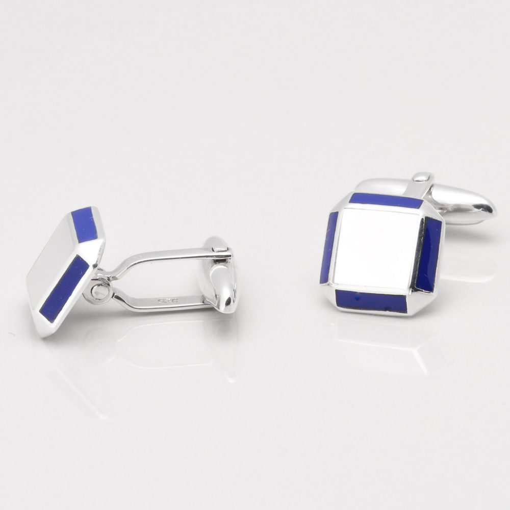 Sterling Silver Mother of Pearl Cufflinks with Lapis Edge Gallery