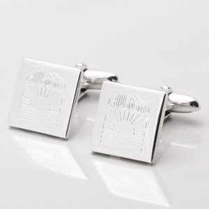 Sterling Silver Square Engraved Logo Cufflinks