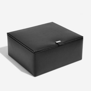 Black Leather Watch & Cufflink Box
