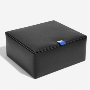 Black Leather Watch & Cufflink Box With Blue Interior