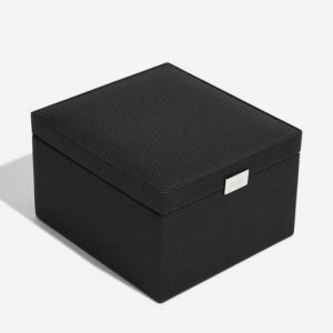 Black Watch & Cufflink Box with Grey Lining