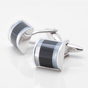 Curved Square Cufflinks with Onyx and Mother of Pearl Stones