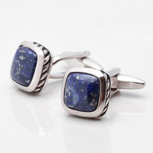 Lapis Stone With Patterned Edge Cufflinks