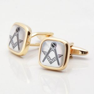 Mother of Pearl Masonic Gold Cufflinks