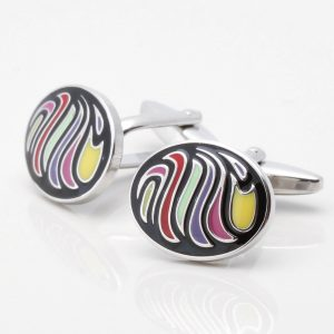 Multi Coloured Black Oval Cufflinks