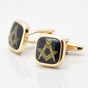 Onyx Masonic Gold Cufflinks