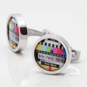 Personalised TV Test Card Cufflinks