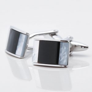 Rectangle Cufflinks with Onyx and Mother of Pearl Stones