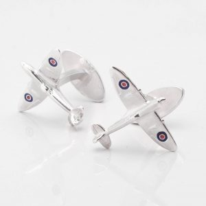 ng Silver Spitfire Cufflinks with RAF Roundels
