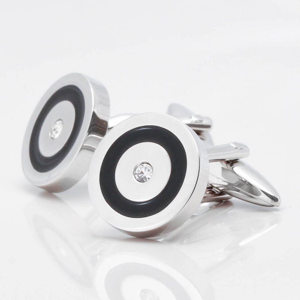 Black Epoxy & Clear Crystal Circular Cufflinks