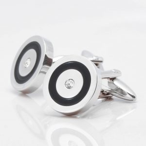 Black Epoxy & Clear Crystal Circular Cufflinks