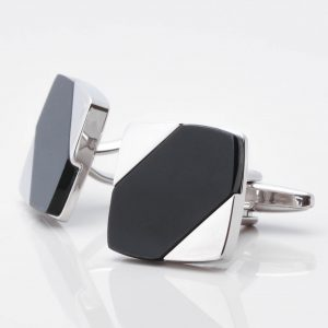 Diagonal Onyx Square Cufflinks