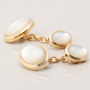 Gold Mother of Pearl Oval Double Sided Chain Cufflinks