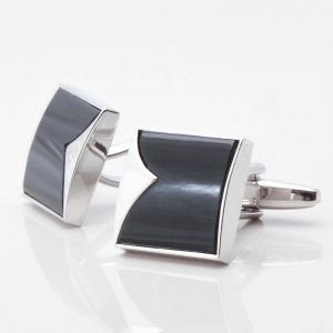 Onyx Fish Tail Patterned Cufflinks