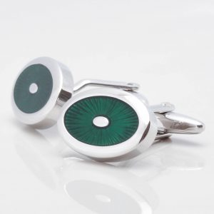 Oval Green Enamel Cufflinks